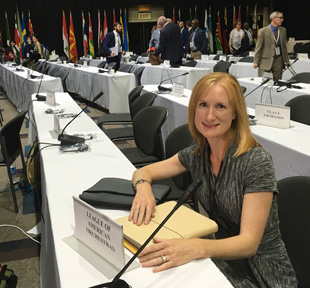 Heather Noonan on the CITES convention floor